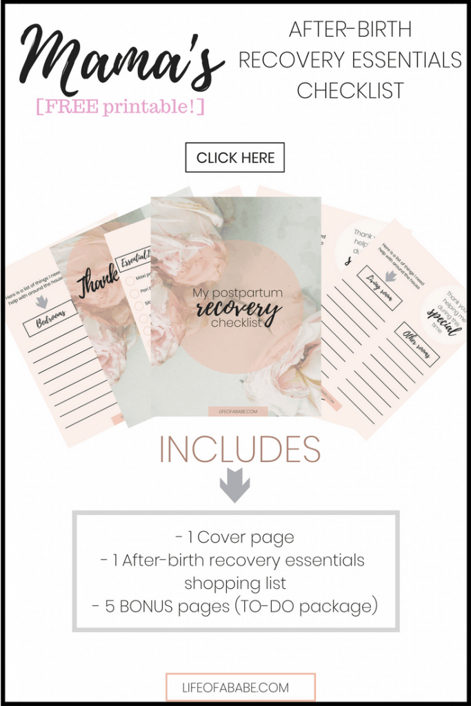 Mama's after-birth recovery essential printable (blog opt-in)