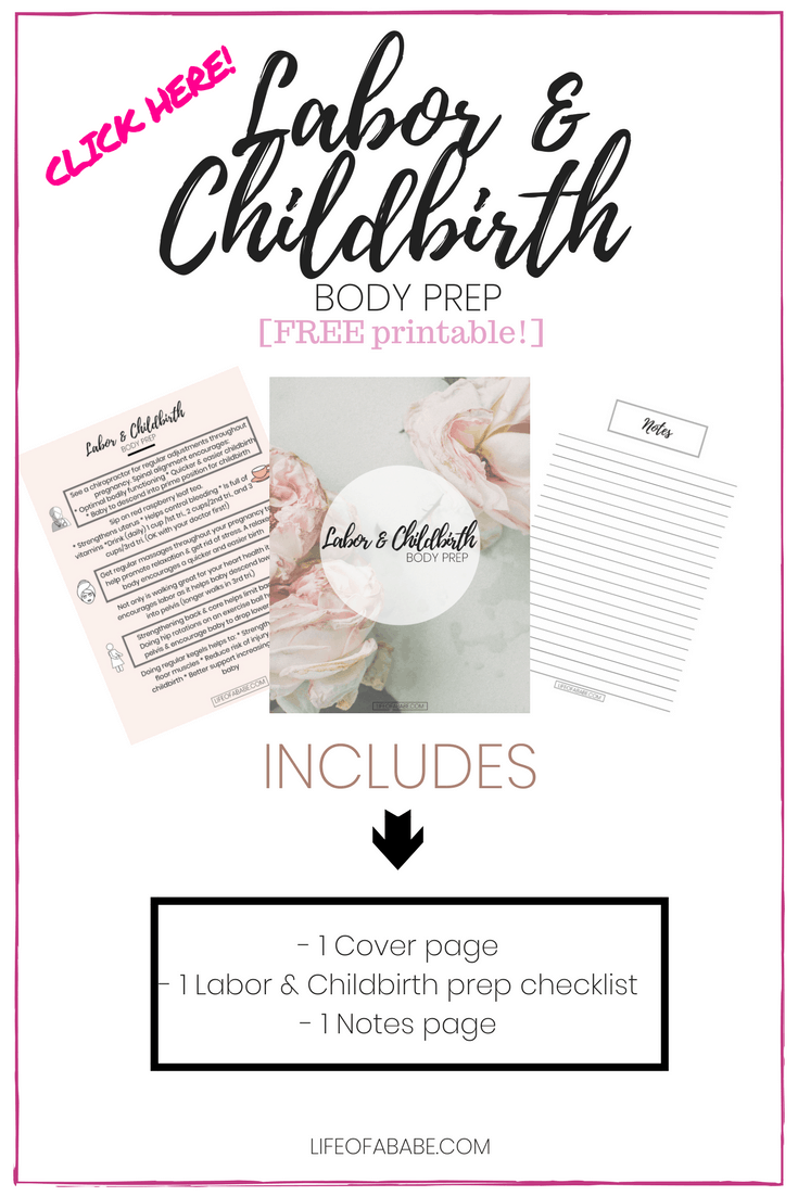 Labor & Childbirth Body Prep checklist printable